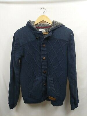 Marks And Spencer Boys Blue Cable Knit Full Zip Hooded Cardigan Age 13 14 #WPB4