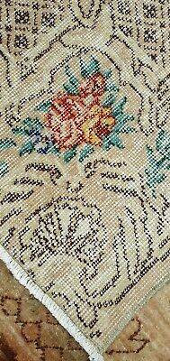 """Antique 1930-1940's Distressed Wool Pile Aubusson Oushak Area Rug 5'5""""×8'10"""""""
