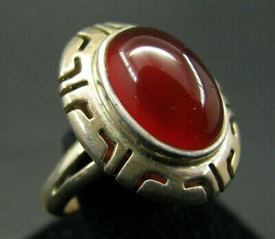 STERLING SILVER Mexico RED CARNELIAN OVAL CAB RING Southwestern CUT-WORK SET 6
