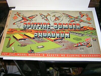 Vintage  Spitfire And Bomber Squadron Cut-Out Book By Ace . Made In Australia .