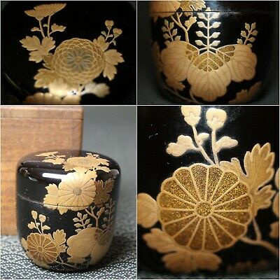 VTG Japanese wooden lacquer Gold makie Natsume tea caddy w/box from Japan b094