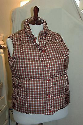 LANDS END Womens Red Plaid Puffer Vest XL 18-20 DOWN Perfect!