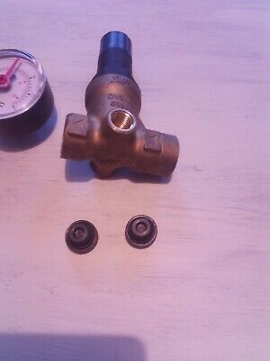 Water pressure reducing valve with gauge. RWC reliance water controls.