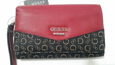 Guess Logo Rock Womens Synthetic Clutch Wallet In Brown Size UK 3-8