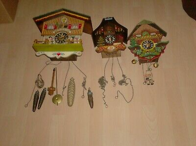 3 Cuckoo Clocks For Spare Or Repair  See Pics Bought As Seen