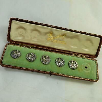 ANTIQUE CASED set of SILVER BUTTONS DECORATIVE c1901