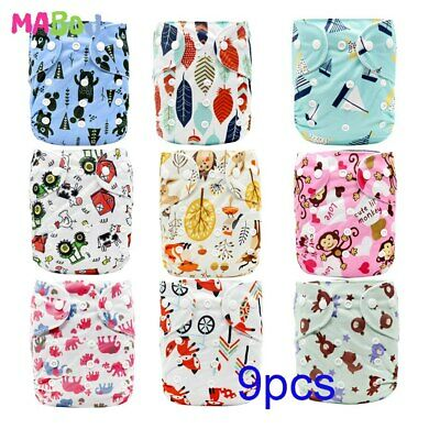 MABOJ Cloth Diapers Baby 9pcs/set Washable Reusable Real Cloth Pocket Nappy