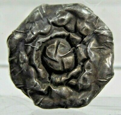 Very Rare Medieval Repousse Silver European Rosette Shape Button ca. 500-1500 AD