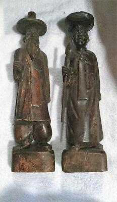 """Vintage 12"""" ASIAN COUPLE WOOD HAND CARVED FIGURINES-set of 2"""