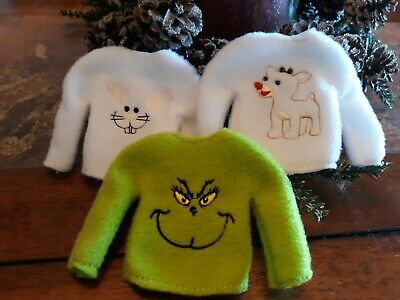 Grinch, olaf frozen, Mickey Mouse + more - Elf Sweater on the shelf - choose ONE