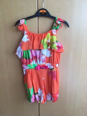 Girls Age 2-3 Years Ted Baker Orange Floral Playsuit Gorgeous Summer Outfit