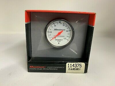 Stewart Warner Maximum Performance Boost Pressure Gauge 0-15Psi White Face