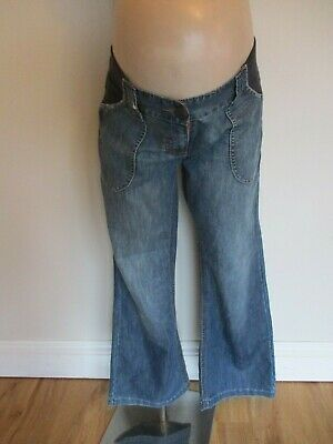 Next Maternity Blue Under Bump Boy Fit Slouch Jeans Size 14 Short