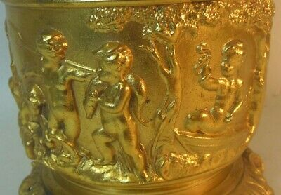 Antique Gold Metal LAMP CHERUBS PUTTO Dog Snake Fish VICTORIAN French ROCOCO