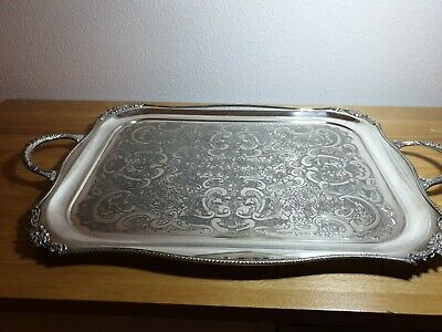 Vines Of Sheffield Vintage, Large Silver-Plate Serving Tray