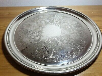 """Vintage 11.25"""" 'Ormerod' Silver Plated Engraved Serving Tray (2423)"""
