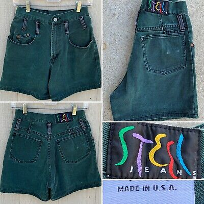 "Vintage Steel Jeans Denim Shorts High Waist Made In USA 80s 90s 7 26"" Waist"