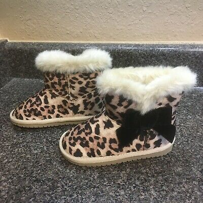 Girls Childrens Place Leopard Print Bow Furry Ankle winter Boots Size 9 toddler