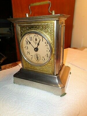 Antique-German-Musical-Carriage Style Alarm Clock-Ca.1900-To Restore-#K49K