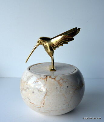 light marble funeral  with solid brass gold humming bird keepsake cremation urn