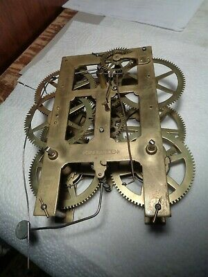 Antique-Jerome-8 Day-Weight Clock Movement-Ca.1860-To Restore-#K57