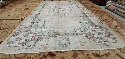 "Primitive Antique 1930-1940's Wool Pile Natural Dye Oushak Area Rug 5'9""×8'7"""