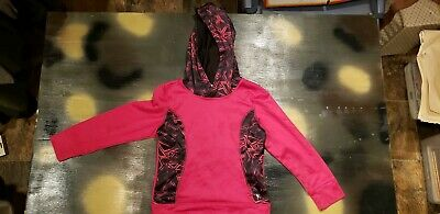 DANSKIN NOW Girls Fleece Lined Pink Hoodie Sweater Pullover Size M (7-8) Youth