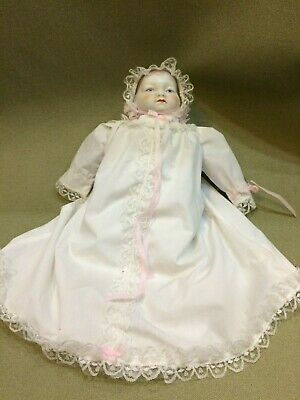 """Vintage Antique Painted Face 14"""" Bisque Heads Hands Doll Cloth Body"""