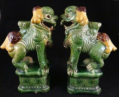 """Pr. Antique Chinese Porcelain Foo Lions. 1800's. Qing Dynasty,  8 ½"""" tall."""