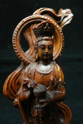 "Excellent Hand Carving Chinese Old Boxwood ""GuanYin"" Statue Buddha Sculpture"