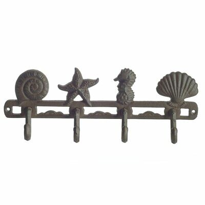 Seashell Coat Hook Bag Hat Hanger Rustic Cast Iron Wall Mounted 4 Holder Brown
