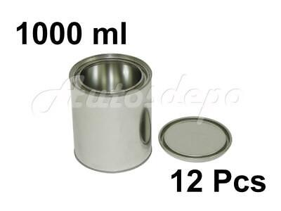 QUART SIZE , 1000 ml EMPTY METAL PAINT CANS WITH LIDS (12 CANS AND 12 LIDS)