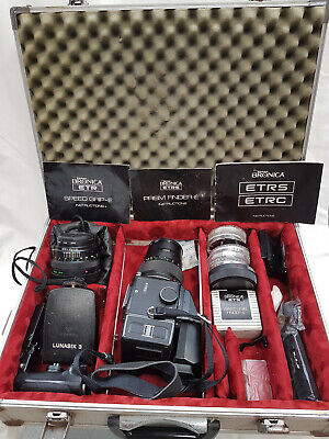 Bronica ETRC Medium Format film camera, lenses & accessories including case