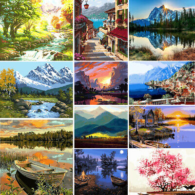 DIY Paint By Number Kit Acrylic Oil Painting Wall Home Decor Landscape Scenery