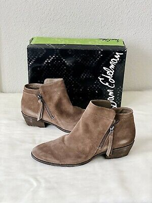 ✨New SAM EDELMAN Packer Suede Booties Dark Taupe Womens Size 10M NIB $130
