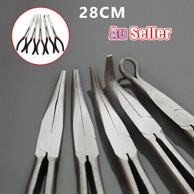 11'' Set Needle Tools Straight 28cm Pliers Mechanics Repair Long Nose Bent ACB#