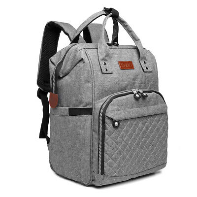 Mummy Changing Bag Baby Diaper Nappy Backpack Multi-Function Hospital Bag Grey
