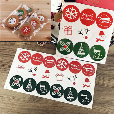 2 Sheets 27x Merry Christmas Stickers Labels Present Seals Cards Envelope 37mm