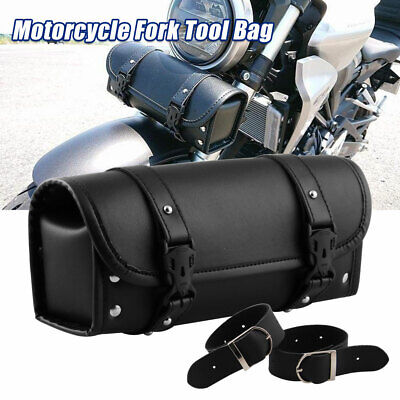 Motorcycle Saddlebags PU Leather Bag Front Fork Black For Yamaha Honda