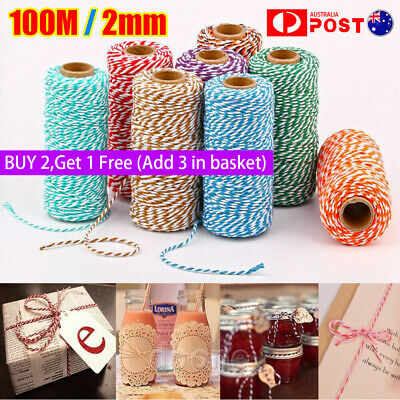 100M 2mm Rope Baker Twine Cotton Cord Christmas Wedding Gift Ribbon String Rope