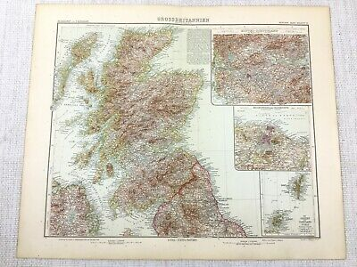 1907 Antique Map of Scotland Scottish Highlands Shetland Islands Edinburgh Leith
