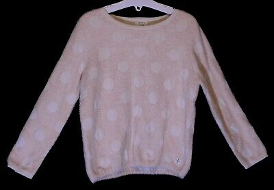 Girls Carrement Beau Pale Pink White Spot Soft Feel Chenille Jumper Age 4 Years