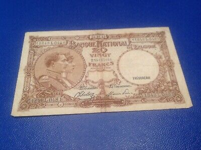 20 Belgium Francs banknote dated 1945