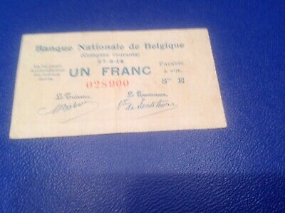1 Belgium Francs banknote dated 1914