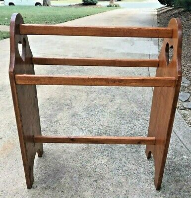 Vintage Solid Wood Quilt Rack Stand (Blankets, Towels) Country Rustic Colonial