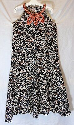 Girls River Island Black Brown Abstract Sparkly Beaded Party Dress Age 6 Years