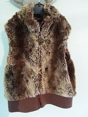 H&M Girls brown faux fur gillet with zip & satin lined Age 10-11