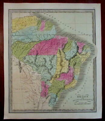 Brazil South America Guiana Paraguay 1848 Greenleaf scarce American map