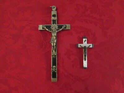 NICE LOT of 2 OLD FRENCH VINTAGE 19th CENTURY CRUCIFIX