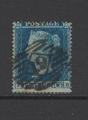 "GB QV 2d Deep Blue SG19 Two Pence ""PK"" Queen Victoria 1854 Good Used Stamp"